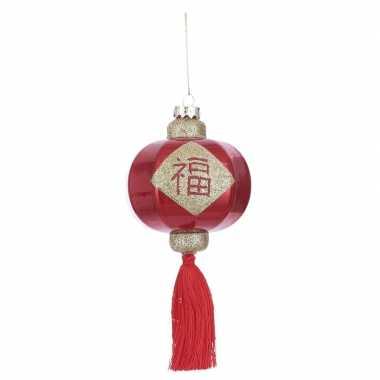 1x kerstboomversiering hangers chinese lantaarns rood 8 cm
