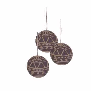 3x houten kerstboomhanger in de vorm een kerstbal 8 cm versiering