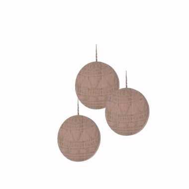 3x kerstboom decoratie bal hanger hout roze 8 cm versiering