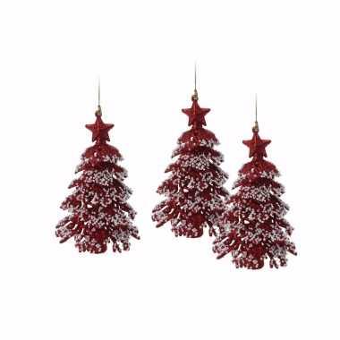 3x rode glitter kerstboom hanger 16 cm versiering