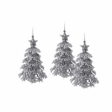 3x zilveren glitter kerstboom hanger 16 cm versiering
