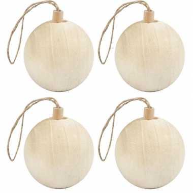 4x kerstboom decoratie ballen van licht hout 6,4 cm versiering