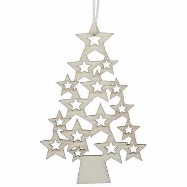 5x houten kerstboom kersthangers 6,5 x 10 cm kerstornamenten versiering