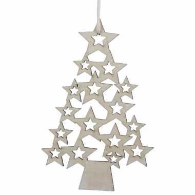 5x houten kerstboom kersthangers 8 x 12 cm kerstornamenten versiering
