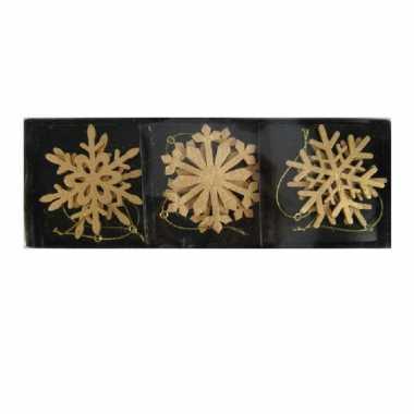 6x houten sneeuwvlok kersthangers goud 7 cm kerstboomversiering