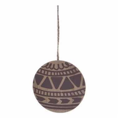 Houten kerstboomhanger in de vorm een kerstbal 8 cm versiering