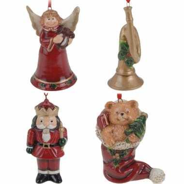 Keramiek kerstboom hangers setje van 4x stuks ornamenten/figuren 8 cm versiering