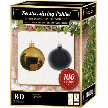 Kerstboom 100 stuks kerstballen mix goud-zwart voor 150 cm boom versiering