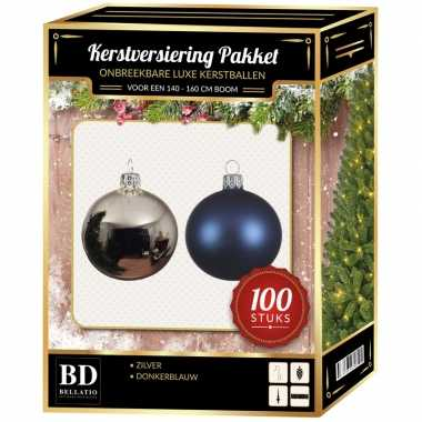 Kerstboom 100 stuks kerstballen mix zilver-donkerblauw voor 150 cm boom versiering
