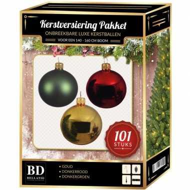 Kerstboom 101 stuks kerstballen mix goud-mint-donkerrood voor 150 cm boom versiering