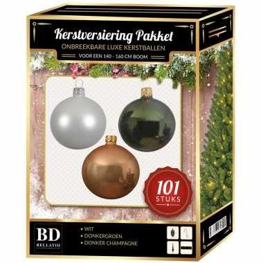 Kerstboom 101 stuks kerstballen mix wit-beige-groen voor 150 cm boom versiering