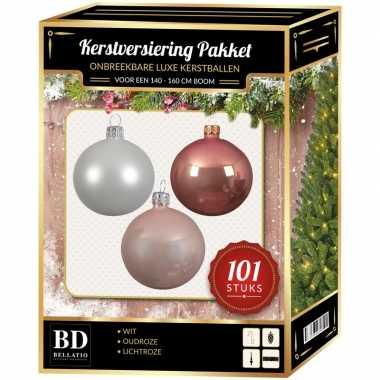 Kerstboom 101 stuks kerstballen mix wit-oud roze-roze voor 150 cm boom versiering