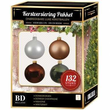 Kerstboom 132 stuks kerstballen mix beige-wit-groen-bruin voor 180 cm boom versiering