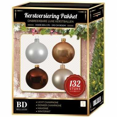 Kerstboom 132 stuks kerstballen mix wit-beige-bruin voor 180 cm boom versiering