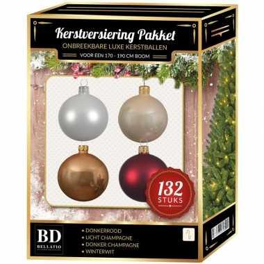 Kerstboom 132 stuks kerstballen mix wit-beige-donkerrood voor 180 cm boom versiering