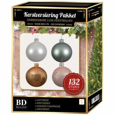Kerstboom 132 stuks kerstballen mix wit-beige-mint-roze voor 180 cm boom versiering