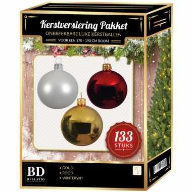 Kerstboom 133 stuks kerstballen mix wit-goud-kerst rood voor 180 cm boom versiering