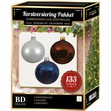 Kerstboom 133 stuks kerstballen mix wit-mahonie-blauw voor 180 cm boom versiering