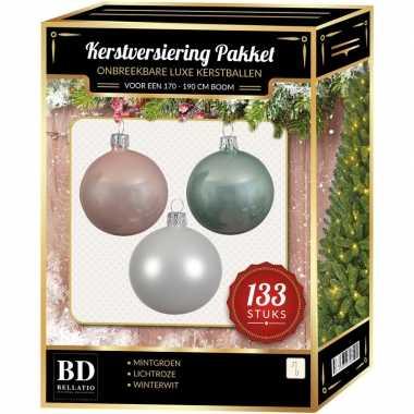 Kerstboom 133 stuks kerstballen mix wit-mintgroen-roze voor 180 cm boom versiering