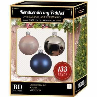 Kerstboom 133 stuks kerstballen mix zilver-blauw-roze voor 180 cm boom versiering