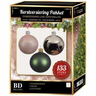 Kerstboom 133 stuks kerstballen mix zilver-groen-roze voor 180 cm boom versiering