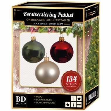 Kerstboom 134 stuks kerstballen mix champagne-groen-rood voor 180 cm boom versiering
