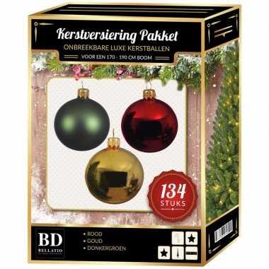 Kerstboom 134 stuks kerstballen mix goud-groen-rood voor 180 cm boom versiering