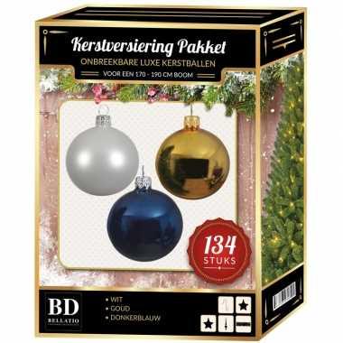Kerstboom 134 stuks kerstballen mix wit-goud-donkerblauw voor 180 cm boom versiering