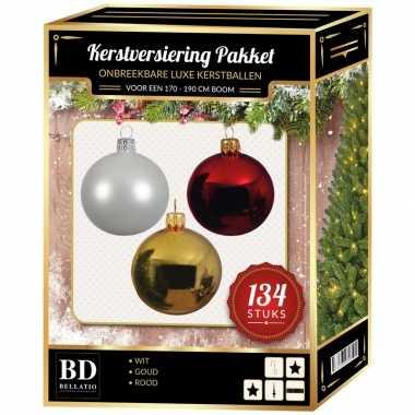 Kerstboom 134 stuks kerstballen mix wit-goud-rood voor 180 cm boom versiering