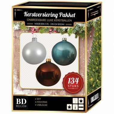 Kerstboom 134 stuks kerstballen mix wit-ijsblauw-bruin voor 180 cm boom versiering
