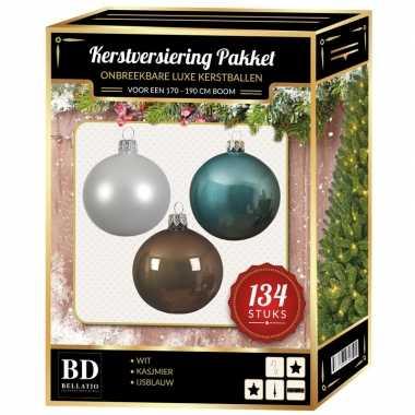 Kerstboom 134 stuks kerstballen mix wit-ijsblauw-kasjmier voor 180 cm boom versiering