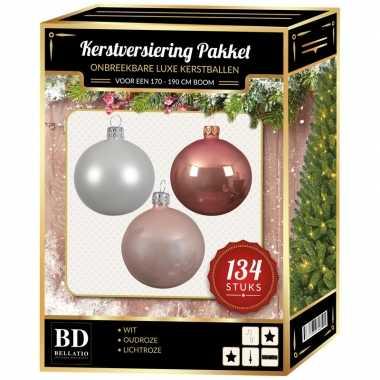 Kerstboom 134 stuks kerstballen mix wit-oud roze-roze voor 180 cm boom versiering