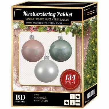 Kerstboom 134 stuks kerstballen mix wit-roze-mint voor 180 cm boom versiering