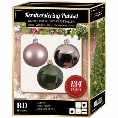 Kerstboom 134 stuks kerstballen mix zilver-roze-groen voor 180 cm boom versiering