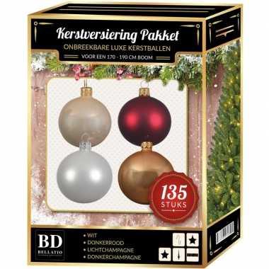 Kerstboom 135 stuks kerstballen mix beige-wit-donkerrood voor 180 cm boom versiering