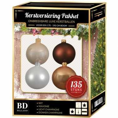 Kerstboom 135 stuks kerstballen mix champagne-wit-bruin voor 180 cm boom versiering