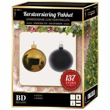 Kerstboom 137 stuks kerstballen mix goud-zwart voor 180 cm boom versiering
