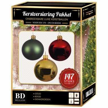 Kerstboom 147 stuks kerstballen mix goud-groen-rood voor 180 cm boom versiering