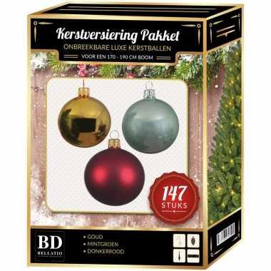 Kerstboom 147 stuks kerstballen mix goud-mintgroen-donkerrood voor 180 cm versiering
