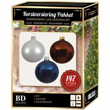 Kerstboom 147 stuks kerstballen mix wit-bruin-donkerblauw voor 180 cm boom versiering