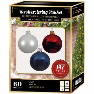 Kerstboom 147 stuks kerstballen mix wit-donkerblauw-rood voor 180 cm boom versiering