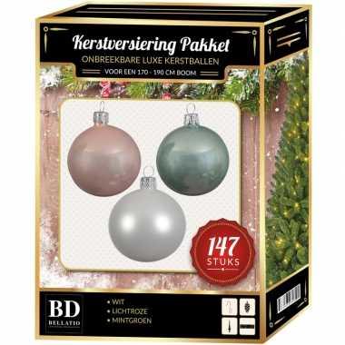 Kerstboom 147 stuks kerstballen mix wit-lichtroze-mint voor 180 cm boom versiering