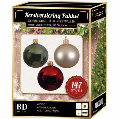 Kerstboom 147x kerstballen mix donkergroen-beige-rood voor 180 cm boom versiering