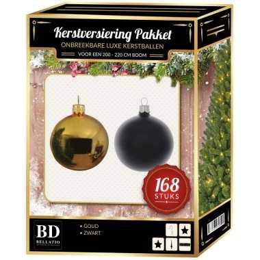 Kerstboom 168 stuks kerstballen mix goud-zwart voor 210 cm boom versiering