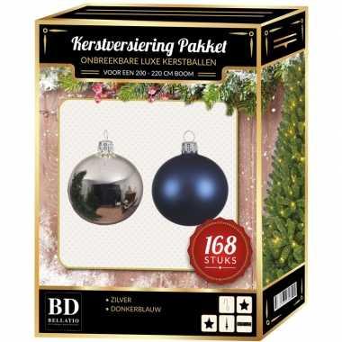 Kerstboom 168 stuks kerstballen mix zilver-donkerblauw voor 210 cm boom versiering