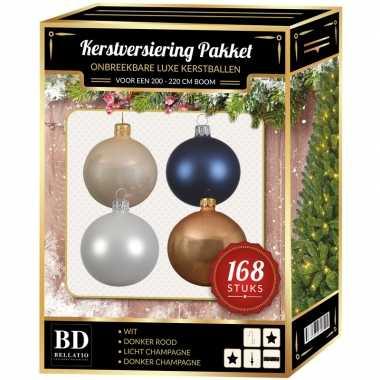 Kerstboom 168x kerstballen mix champagne-wit-donkerblauw voor 210 cm boom versiering