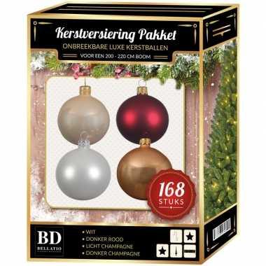Kerstboom 168x kerstballen mix champagne-wit-donkerrood voor 210 cm boom versiering