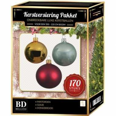 Kerstboom 170 stuks kerstballen mix goud-donkerrood-mint voor 210cm boom versiering