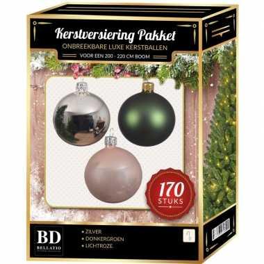Kerstboom 170 stuks kerstballen mix zilver-groen-roze voor 210 cm boom versiering