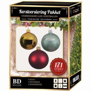 Kerstboom 171 stuks kerstballen mix goud-mint-rood voor 210 cm boom versiering